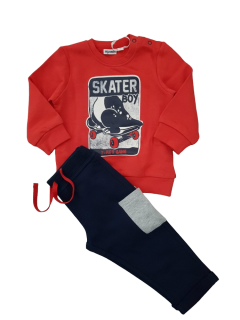 MIGNOLO Boys 2 Pcs  Pyjama Set (RED - NAVY) (12 to 30 Month)