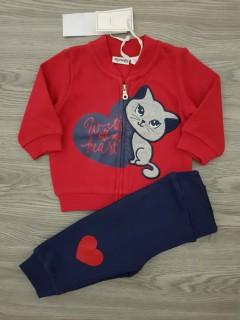 MIGNOLO Girls 2 Pcs  Pyjama Set (RED - NAVY) (3 to 30 Months)