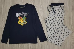 HARRY POTTR Mens 2Pcs Pyjama Set (NAVY - GRAY) (S - M - L - XL - XXL)