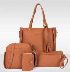 Ladies 4 Pcs Bags (BROWN) (Os)