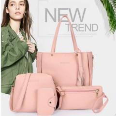 Ladies 4 Pcs Bags (PINK) (Os)