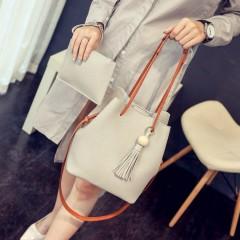 Ladies 2 Pcs Hand Bags Set (GRAY) (Os)