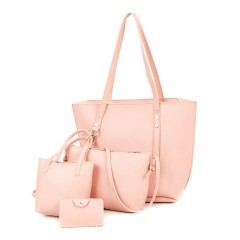 Ladies 4 Pcs Bags (LIGHT PINK) (Os)