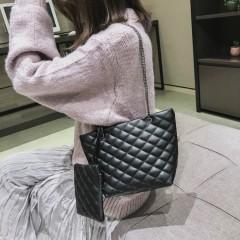 Ladies 2 Pcs Bags (BLACK) (Os)
