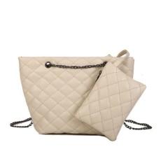 Ladies 2 Pcs Bags (CREAM) (Os)