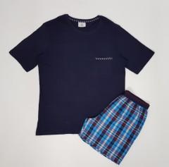 ENRICO MORI Mens 2 Pcs Shorty Set (NAVY-BLUE) (M - L - XXL)