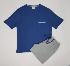 ENRICO MORI Mens 2 Pcs Shorty Set (BLUE-GRAY) (M - L - XL - XXL)