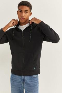 SPRINGFIELD Mens Hoodi Zipper (BLACK) (XS - S - M - L - XL - XXL - 3XL)