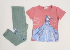 M AND S Girls 2 Pcs Pyjama Set (PINK - GREEN) (2 to 8 Yearss)