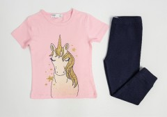 M AND S Girls 2 Pcs Pyjama Set (LIGHT PINK - BLACK) (2 to 8 Years)