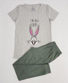 M AND S Ladies 2 Pcs Pyjama Set (GRAY-GREEN) (S - M - L - XL)