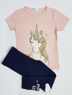 M AND S Girls 2 Pcs Pyjama Set (PINK - NAVY) ( 2 to 8 Years)