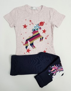 M AND S Girls 2 Pcs Pyjama Set (LIGHT PINK- NAVY) (2 to 8 Years)