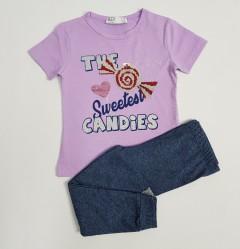 M AND S Girls 2 Pcs Pyjama Set (PURPLE-GRAY) (2 to 8 Years)