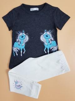 M AND S Girls 2 Pcs Pyjama Set (BLACK - WHITE) ( 2 to 8 Years)