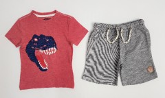 PEBBLES Boys 2 Pcs Shorty Set (RED - GRAY) (2 To 8 Year)