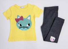 M & S Girls 2 Pcs Pyjama Set (YELLOW - BLACK) (2 to 8 Years)