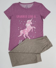 M AND S Ladies 2 Pcs Pyjama Set (PURPLE-GRAY) (S - M - L - XL)