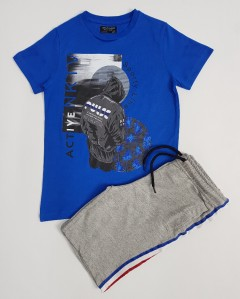 NUKUTAVAKE Boys 2 Pcs Shorty Set (BLUE-GRAY) (8 To 18 Years)