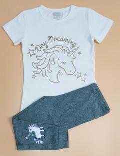 MONSOON Girls 2 Pcs Pyjama Set (WHITE - GRAY) ( 2 to 8 Years)