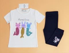 M AND S Girls 2 Pcs Pyjama Set (WHITE - NAVY) (2 to 8 Years)