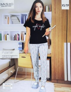 BASIC COLLECTION Ladies 2 Pcs Pyjama Set (BLACK - GRAY) (XS - S - M - L)