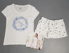 BASIC COLLECTION Ladies 2 Pcs Shorty Set (WHITE) (S - M - L - XL)