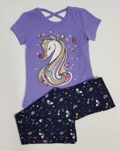 KOKO AILIS Girls 2 Pcs Pyjama Set (PERPULE - BLACK) ( 2 to 8 Years)
