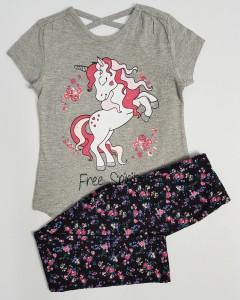 KOKO AILIS Girls 2 Pcs Pyjama Set (GRAY - BLACK) ( 2 to 8 Years)