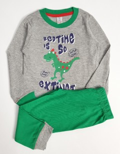 PULL AND BEAR Boys 2 Pcs Pyjama Set (GRAY - GREEN) (2 to 5 Years)