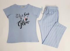 BLUE MOTION Ladies 2 Pcs Pyjama Set (BLUE) (XS - S - M - L)