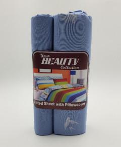 BED SHEET & PILLOW COVER (BLUE) (FRH)