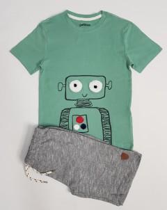 PEBBLES Boys 2 Pcs Pyjama Set (GREEN - GRAY) (2 to 8 Years)