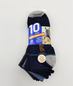 A-FOX Mens Ankle Socks 10 Pcs Pack (RANDOM COLOR) (FREE SIZE)