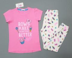 COTTON CANDY Girls 2 Pcs Pyjama Set (PINK - WHITE) (2 to 8 Years)