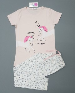 COTON CANDY Girls 2 Pcs Pyjama Set (PINK - WHITE) (2 to 8 Years)