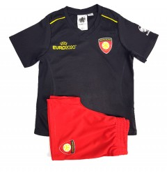 UEFA EURO 2020 Boys 2 Pcs Shorty Set (BLACK-RED) (4 To 14 Years)