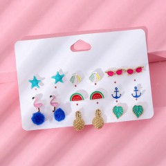 9 Pcs Pack Earrings (AS PHOTO) (OS)