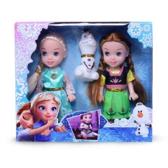 3 pcs/set Princess frozen 2 Anna Elsa Dolls with box For Girls Toys Princess (GREEN - LIGHT BLUE) (ONE SIZE)