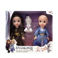 3 pcs/set Princess frozen 2 Anna Elsa Dolls with box For Girls Toys Princess (BROWN - BLUE) (ONE SIZE)
