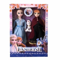 with 3 pcs/set Princess frozen 2 Anna Elsa Dollsbox For Girls Toys Princess (BLACK - BLUE) (ONE SIZE)