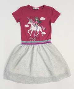 H AND M Girls Frocks (MAROON - GRAY) (2 to 8 Years)