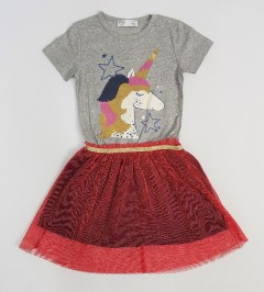 M AND S Girls Frocks (GRAY - RED) (2 to 8 Years)