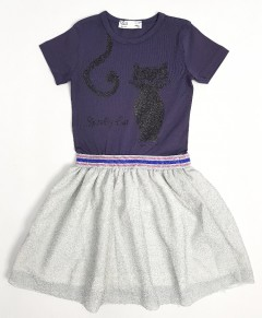 M AND S Girls Frock (PURPLE - WHITE) (2 To 8 Years)