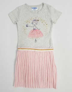 PEBBLES Girls Frock (GRAY - PINK) (2 To 8 Years)