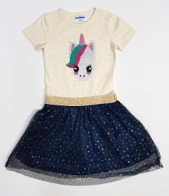 PEBBLES Girls Frock (YELLOW - NAVY) (2 To 8 Years)