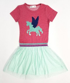 PEBBLES Girls Frock (RED - LIGHT GREEN) (2 To 8 Years)
