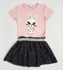 M AND S Girls Frock (PINK - BLACK) (2 To 8 Years)
