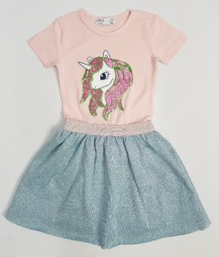 M AND S Girls Frock (PINK - GRAY) (2 to 8 Years)