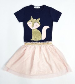 M AND S Girls Frock (NAVY - PINK) (2 To 8 Years)